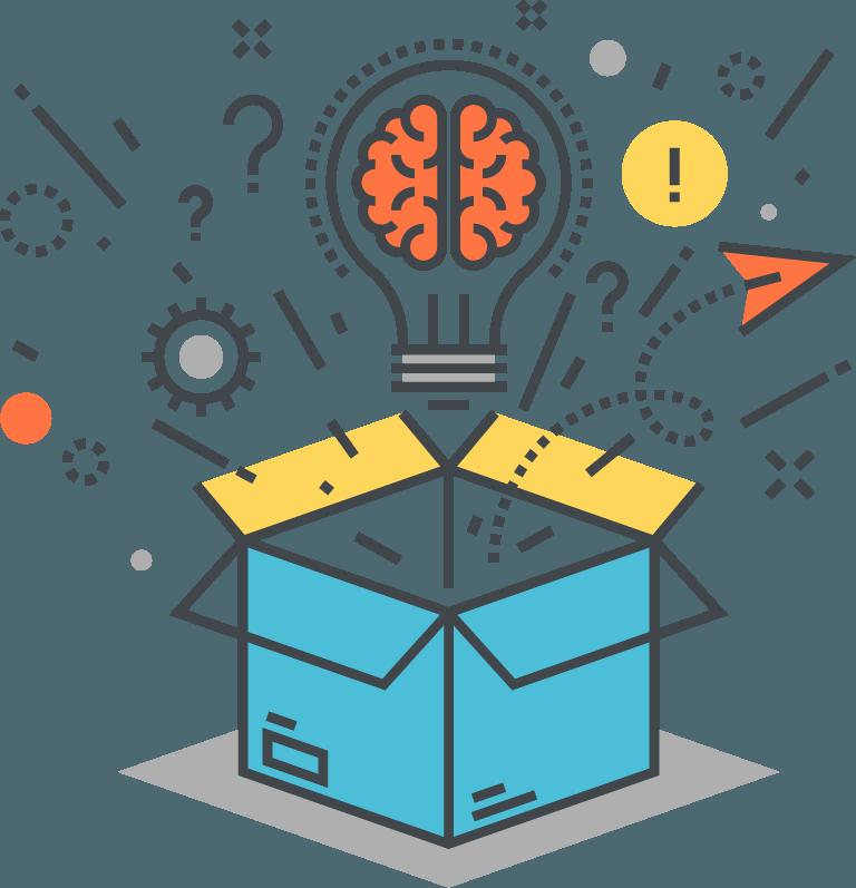 search marketing box faq with lightbulb